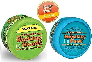 O'Keeffe's Working Hands 6.8oz Value Size Jar - Healthy Feet Cream 3.2oz Jar, Combo Set