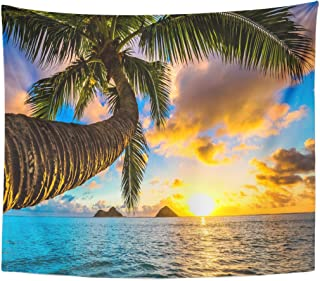 Emvency Tapestry Paradise Beautiful Lanikai Kailua Sunrise in Hawaii Sunset Beach Home Decor Wall Hanging for Living Room Bedroom Dorm 50x60 inches