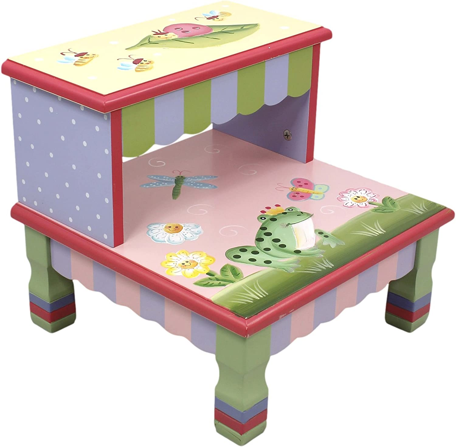 Fantasy Fields - Magic Garden Thematic Kids Wooden Step Stool   Imagination Inspiring Hand Crafted & Hand Painted Details Non-Toxic, Lead Free Water-Based Paint