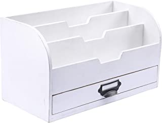 $28 » Emaison 3 Tier Country Wooden Mail Organizer with Drawer, Rustic Office Desk File Sorter for Letters, Envelopes, Magazines, File Folders or Office Supplies (White, 13 x 6 x 7 Inch)
