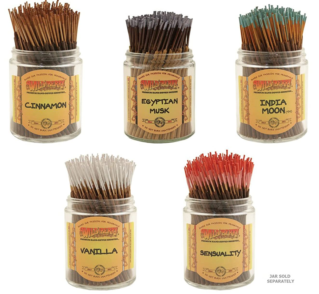 メーター心臓よく話されるWildberry Short Incense Sticks?–?Set of 5秋Fragrances?–?シナモン、エジプトムスク、インドMoon、Sensuality、バニラ(100各パック、合計500?Sticks)