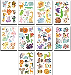 10 Sheets Animal Temporary Tattoo Kit Waterproof Fake Body Stickers for Theme Birthday Party Favors Supplies