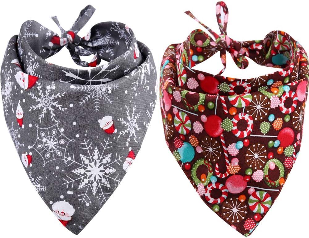KZHAREEN 2 Pack Christmas Dog Triangle Reversible S Ranking TOP16 Popular brand Bibs Bandana