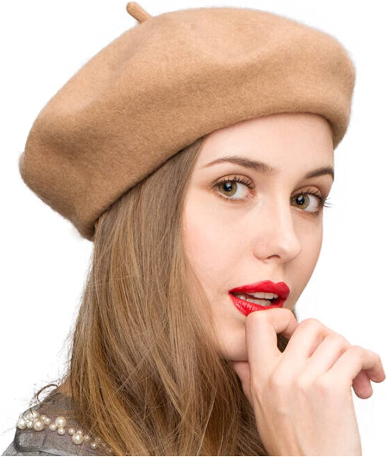 Gllutt Women Wool Beret Hat French Style Solid Color