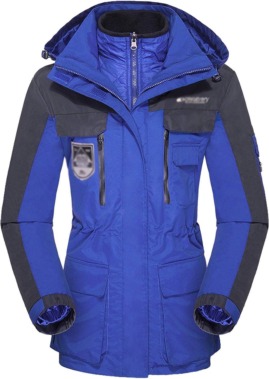 Flygo Women's 3 in 1 Removable Hoodie Windproof Waterproof Jacket for Rain Snow Hiking