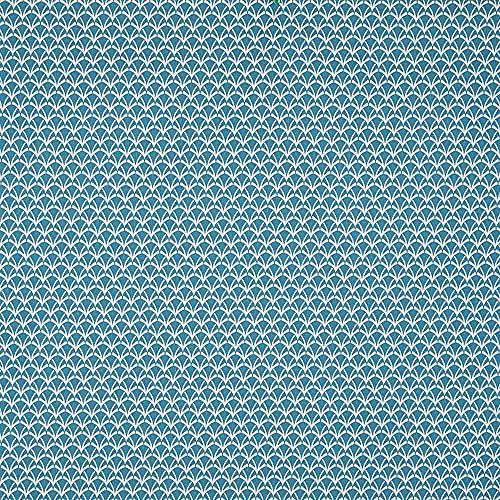 Kt KILOtela Tela de loneta Estampada - Retal de 300 cm Largo x 280 cm Ancho   Geométrico, Tallos - Turquesa ─ 3 Metros