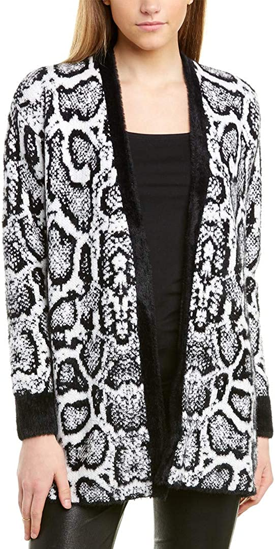 1.STATE Womens Printed Open Front Cardigan Sweater B/W XS Rich Black