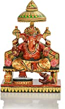 CKHandicrafts Wooden Handmade Lord Ganesh Sitting on Sihasan/Singhasan(Throne) Idol Hand Brush Painted 6 Inch