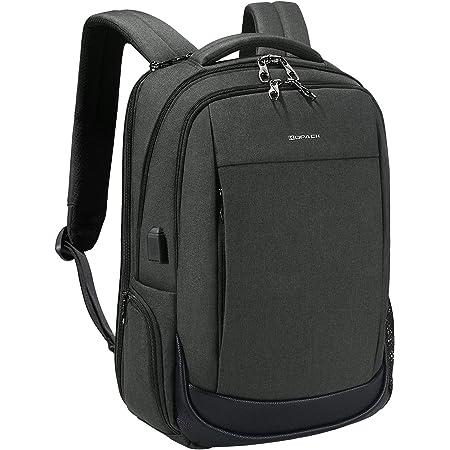 KOPACK Business Laptop Backpack Side Load Computer Travel Backpack Usb Port Water Resistant 15.6 Inch Black