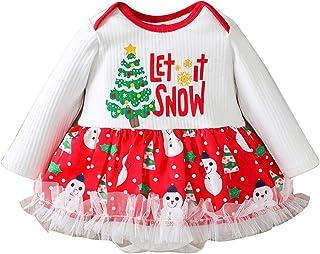 Hirolan 6M-24M LET Show IT Baby Langarm Mode Urlaub exklusiven Weihnachtsweihnachtsbaum drucken einteiligen geschwollenen Strampler Rock für Junge Mädchen