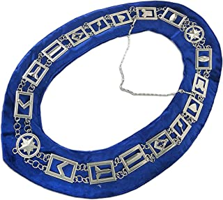 Master Masonic Collar Mason Blue Lodge Working Tools Emblem Chain Silver Plated