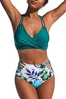 Women's Tropical Palms Strappy Front Twist High Waisted Bikini Sets