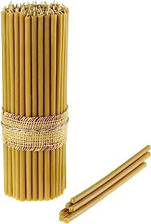 Danilovo Ritual Kerzen 100 % Bienenwachs Gelb - Orthodoxe Kerzen für Gebet Tischdeko Hochzeit - Ungiftig, Ruß - Tropffrei, Nachhaltige Produkte, N30, Höhe: 29,5 cm, Durchmesser 8,5 mm 25 stück - 334 g