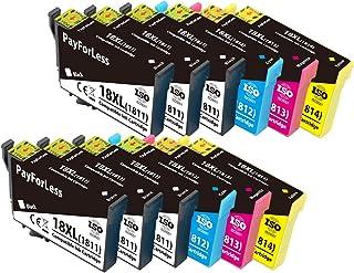 PayForLess 18XL Cartuchos de Tinta para Epson 18 XL Compatible con Epson Expression Home XP-215 XP-225 XP-302 XP-305 XP-312 XP-315 XP-322 XP-405 XP-412 XP-422 XP-425(6Negro 2Rojo 2Amarillo 2Azul)