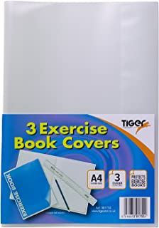 Tiger A4 Clear Strong Plastic Protective Exercise Book Slip On Cover Jackets X 3, Size: 306Mm x 210Mm