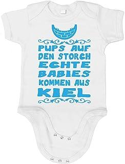 Artdiktat Baby Jungen Organic Bodysuit - Strampler - Pups auf den Storch - Echte Babies kommen aus Kiel