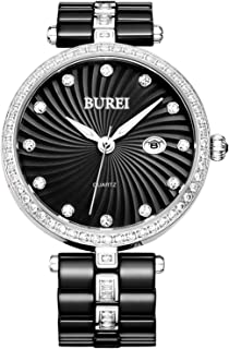 BUREI Quartz Women Watch Elegant Analog Display Date Calendar Crystal Markers Bezel and Two Tones Ceramic Watch Band