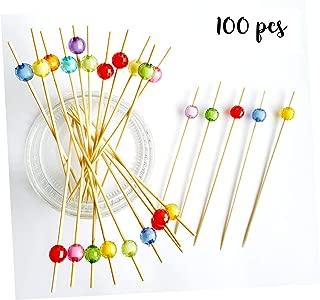 Tiiplii - Palillos de cóctel Redondos de Cristal 12 cm de bambú (100 Unidades) para Palillos de Comida, Palillos de Dientes, Palillos de cóctel, canapés y Pinchos para cócteles, Fiestas y Bares Ltd.