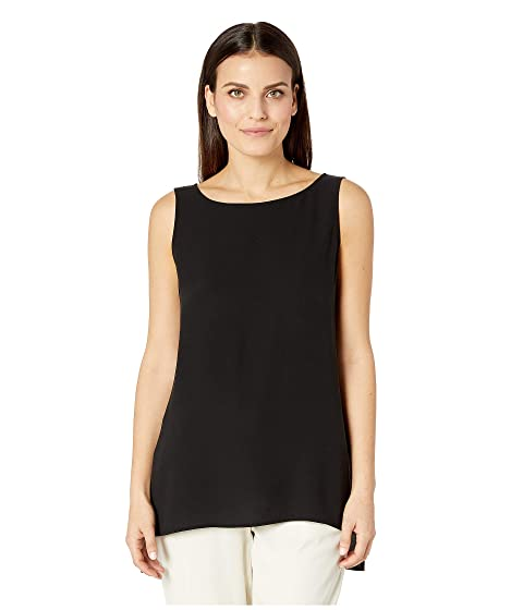 4c0f0e9cd9d Eileen Fisher Petite Silk Georgette Crepe Bateau Neck Long Shell at ...