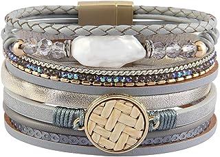 Jeilwiy Baroque Pearl Bracelet Handmade Bangle Crystal...