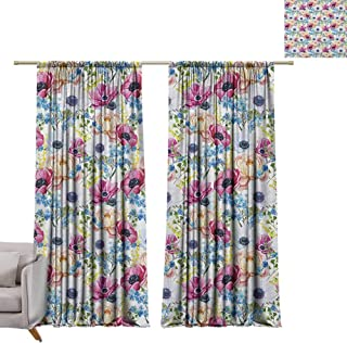 berrly Blackout Grommet Curtains Watercolor,Vintage Colorful Anemone and Forget Me Not Flowers Romantic Mimosa Peony Art, Multicolor W72 x L108 Kids Blackout Curtains