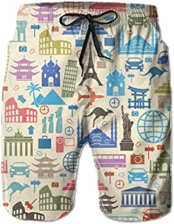 Lixinli Men's Travel to The World Tourist Icons Summer Pants Beach Shorts