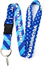 Buttonsmith Blue Dots Custom Lanyard - Customize with Your Text - Buckle and Flat Ring - Made in The USA