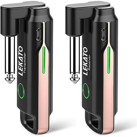 ギターワイヤレスシステム 送受信機 LEKATO 70チャンネル ギターに直接プラグ・イン エレキギターアンプ エレキギター USB充電式 ケーブル不要 干渉なし パワーディスプレイ 持ち運びが便利