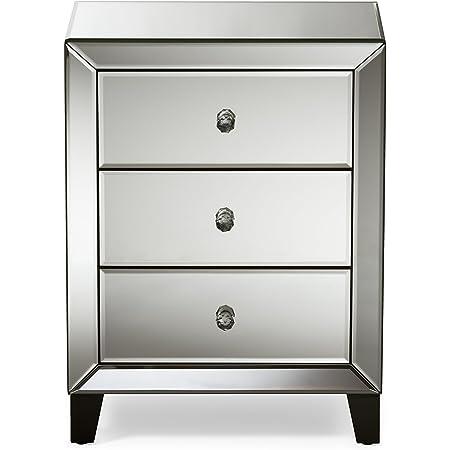 Baxton Studio FBA_RS1155 nightstands, Medium, Silver