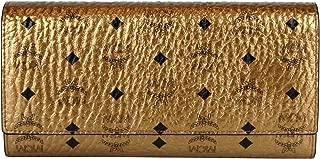MCM Women's Metallic Gold Coated Canvas/Leather Trifold Wallet MYL8SFO48DG001