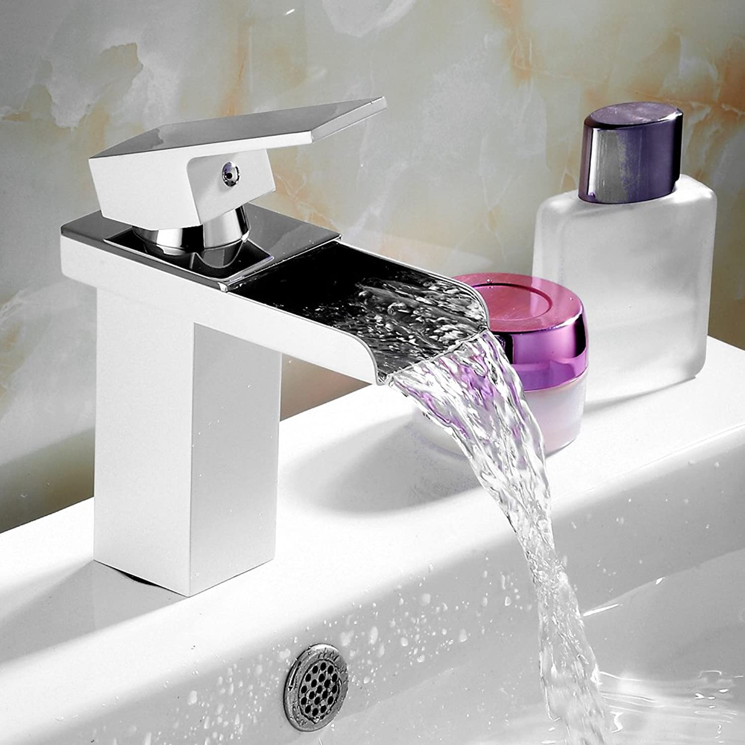 Auralum? White Paint Sink Waterfall Bathroom Tap Basin Single Lever Mixer Tap... type1