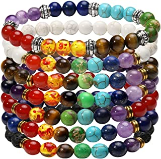 7 Chakra Diffuser Bracelets Set for Women Men Reiki Healing Meditation Lava Rock Stone Beads
