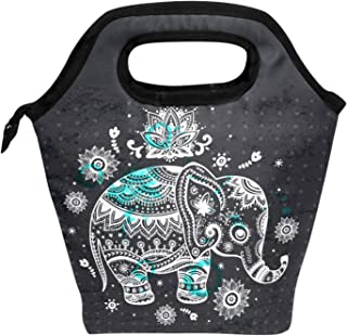 Wamika Lunch Bag Vintage Ethnic Elephant Lotus Flowers Insulated Lunch Bag Box for Kids School Children Students Girls Boys, Animal Elephant Indian Persian Floral Lunch Box Handbag Men Women