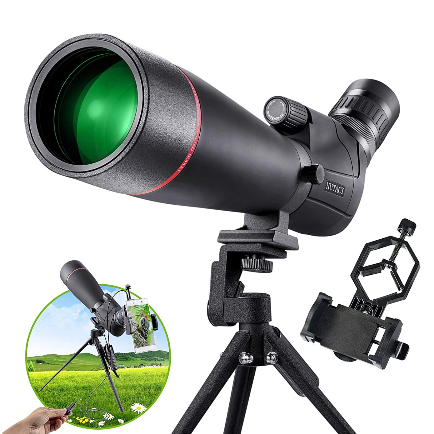 HUTACT Spotting Scope 20-60x80 AE Zoom, Waterproof PORRO Prism, 45° Tilt Eyepiece for Bird Watching and Target Shooting, with Cell Phone Mount Adapter, Tripod and Shutter Wire Control