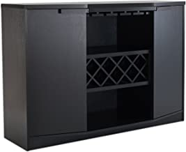 ioHOMES Annadel Contemporary Wine Buffet, Wood Sideboard with Glass Rack, Two Shelved Cabinets and an Open Bottom Shelf, Black