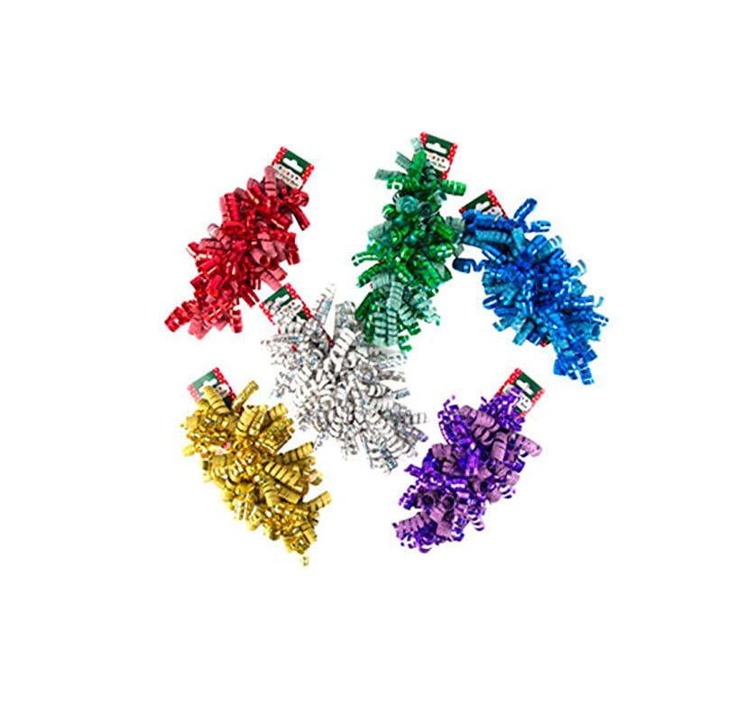 Christmas Curly Bow Ribbon Sparkly Shiny Purple Gold Red Green White Blue (Set of 18)