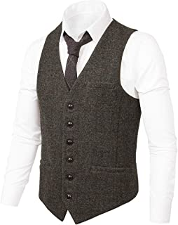 VOBOOM Men's Slim Fit Herringbone Tweed Suits Vest Premium Wool Blend Waistcoat