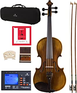 Cecilio 16.5 Inch Viola Strung with D'Addario Prelude Strings, Finished with Hand Oil Rubbed and Highly Flamed 2-Piece Back Solidwood, CVA-600