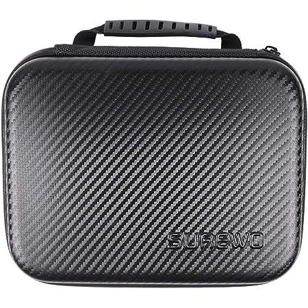 SUREWO Étui de transport moyen résistant à l'eau compatible avec GoPro Hero 8/7/(2018)/6/5/4 Noir, sac de rangement de voyage pour AKASO/Campark/YI/DJI Osmo Action Camera et plus