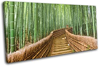 Bold Bloc Design - Bamboo Forest Steps Asian Landscapes 150x75cm Single Canvas Art Print Box Framed Picture Wall Hanging -...