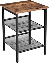 VASAGLE Industrial Nightstand, End Table with 2 Adjustable Mesh Shelves, Side Table for Living Room, Stable Metal Frame, Easy Assembly, Rustic Brown ULET23X
