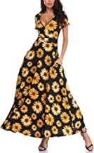 HUHOT Women Short Sleeves V Neck A Line Unique Cross Wrap Summer Maxi Dresses with Pockets