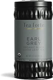 Tea Forte Organic Black Tea EARL GREY (35-50 Cups) 3.53 Ounce Loose Leaf Tea Canister