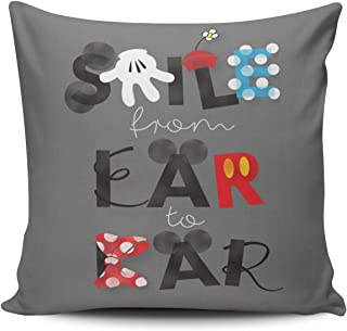 MUKPU Fashion Home Decoration Design Throw Pillow Case Charcoal Gray Mickey Mouse Smile from Ear to Ear 16X16 Inch Square Custom Pillowcase Cushion Cover Double Sided Printed (Set of 1)