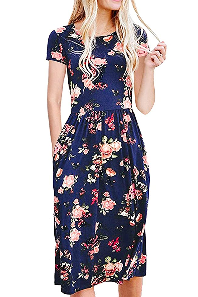BLUETIME Women Short Sleeve Floral Print Casual Pleated Dress with Pockets
