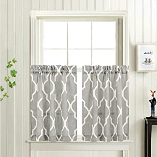 Grey Moroccan Tile Print Tier Curtains for Kitchen Lattice Cafe Curtains 24 inches Long Short Kitchen Window Curtain Sets for Bathroom 1 Pair