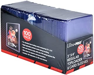 "Ultra Pro 3"" x 4"" Toploaders and Clear Sleeves for Collectible Trading Cards (Includes 100 toploaders and 100 Sleeves)"