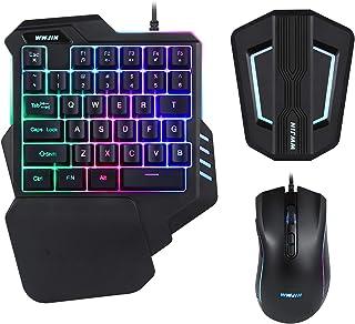 WWJIN T10 PS4、Xbox One、スイッチ、PS3、PC用のバックライト付きゲーミングキーボードとマウスの組み合わせキーボードおよびマウスアダプター
