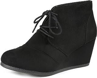 Women's Casual Fashion Lace Up Low Wedge Heel Booties Shoe