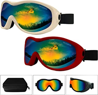 Snow Ski Goggles Pack of 2,Snowboard Skiing Goggle for Kids,Youth,Men,Women,Children Boys Girls with Anti-Fog Lens Cloth,Anti-Glare UV Protection Lenses,Wind Resistance